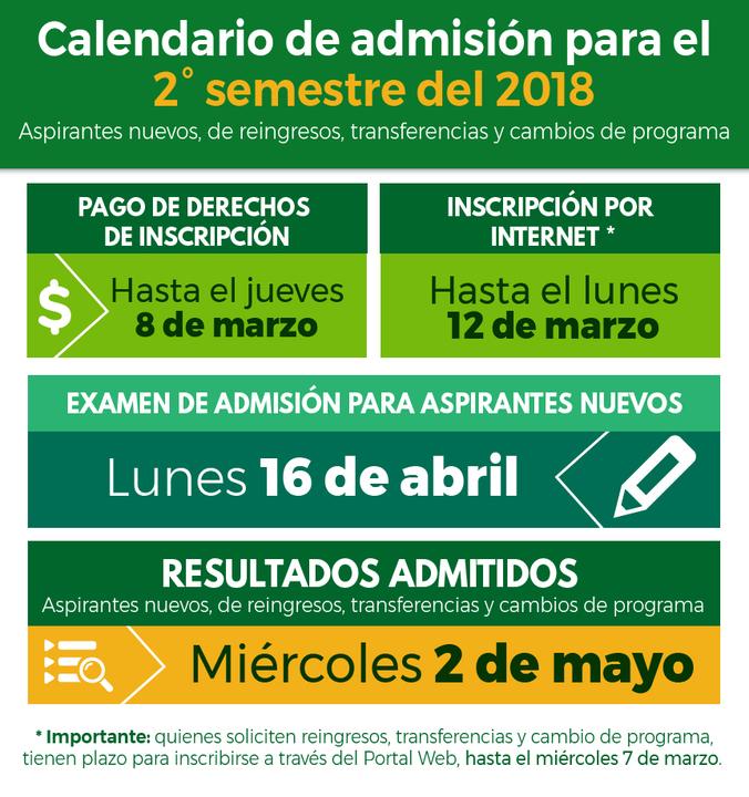 Calendario de admisión y guías para aspirantes